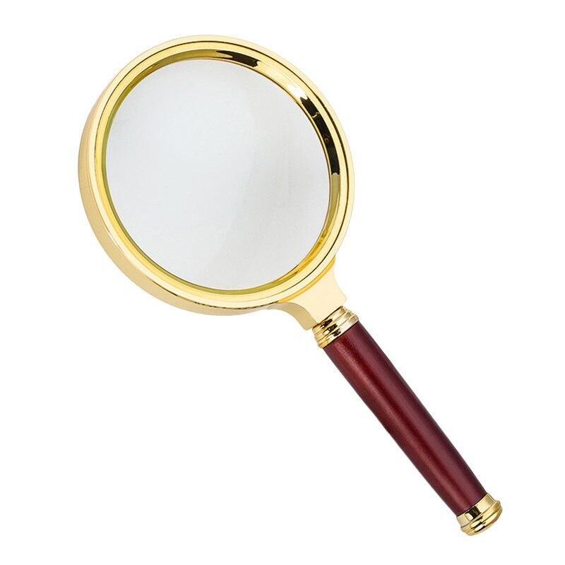 Лупа ручная круглая 6х-60мм для чтения в золотистой оправе