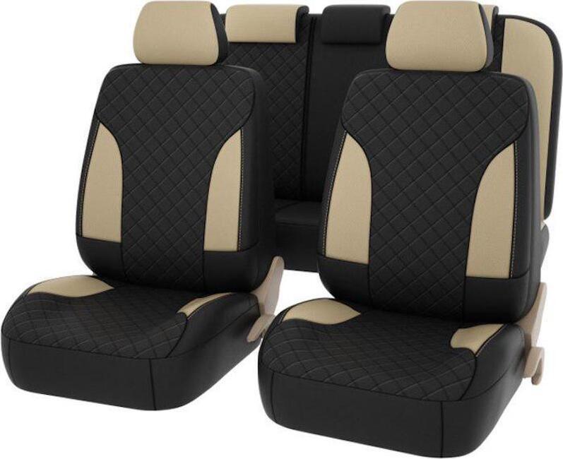 Авточехлы Premium King, экокожа, бежевые с бежевой отстрочкой, комплект на салон 11 предметов, универсальные #1