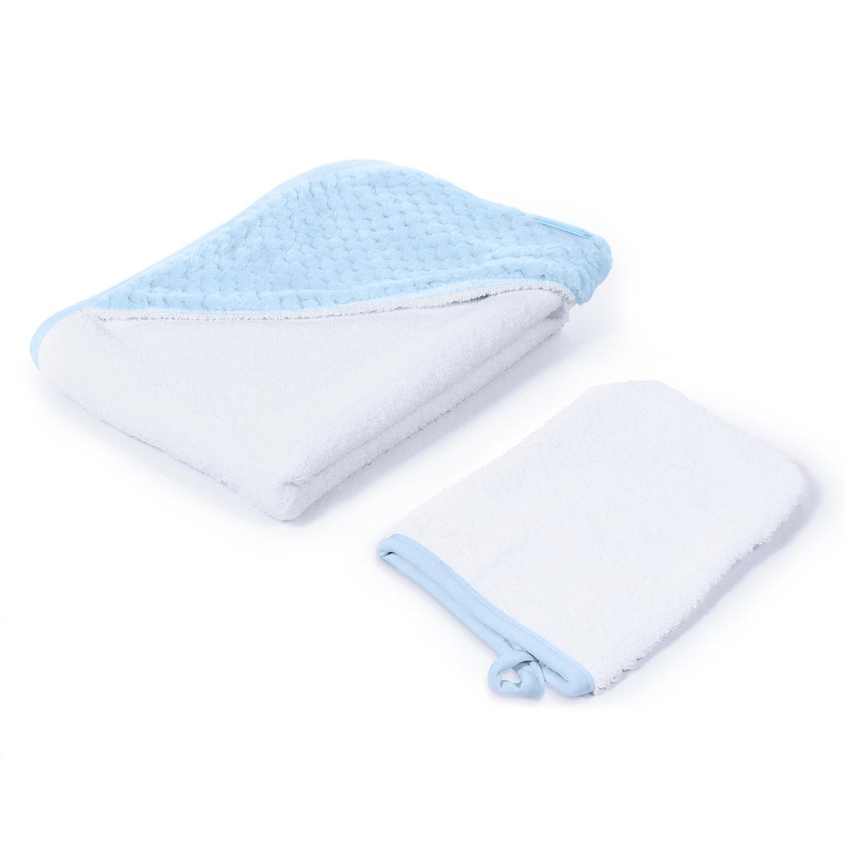 Полотенце детское с капюшоном NUOVITA махра/плюш-соты Хлопок, 100x100 см, белый, голубой  #1