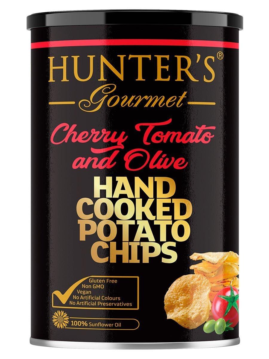 Картофельные чипсы натуральные приготовленные вручную Hunter's Gourmet Помидорки Черри и Оливы, 150г #1