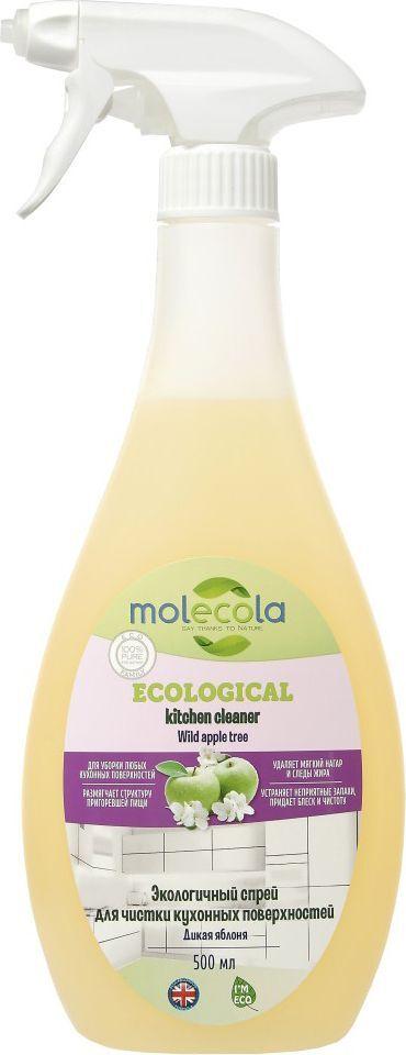 Спрей для чистки кухонных поверхностей Molecola, универсальный, дикая яблоня, 500 мл очищающий спрей molecola emerald forest для ванной комнаты экологичный 500 мл