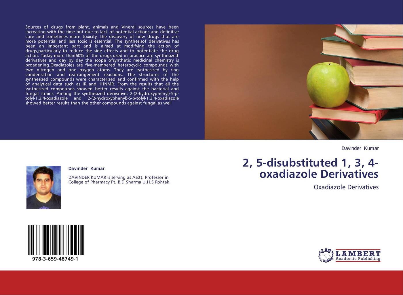 цена на Davinder Kumar 2, 5-disubstituted 1, 3, 4-oxadiazole Derivatives
