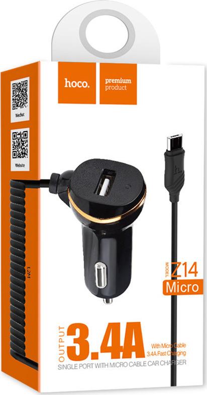 Автомобильное зарядное устройство Hoco Z14, 1 USB, 3.4 A, кабель Micro, черное