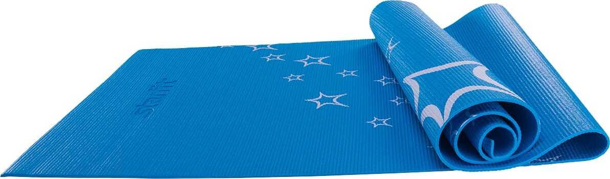 Коврик для йоги Starfit FM-102, PVC, 173x61x0,3 см, с рисунком, синий