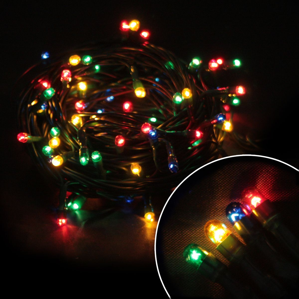 Электрическая гирлянда Волшебная страна PR/R-50-3-MC, многоцветная, 50 ламп, без мигания, зеленый шнур, 3 м