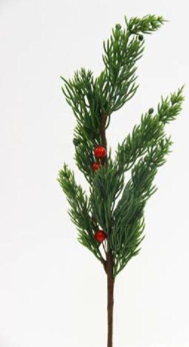 Ветка декоративная новогодняя, DN-53056, зеленый, красный, длина 35 см