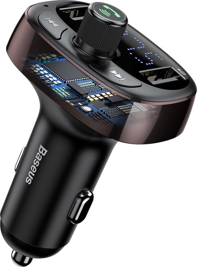 Автомобильное зарядное устройство с FM-трансмиттером 2xUSB Baseus T typed Bluetooth MP3 - Dark Coffee (CCALL-TM12)