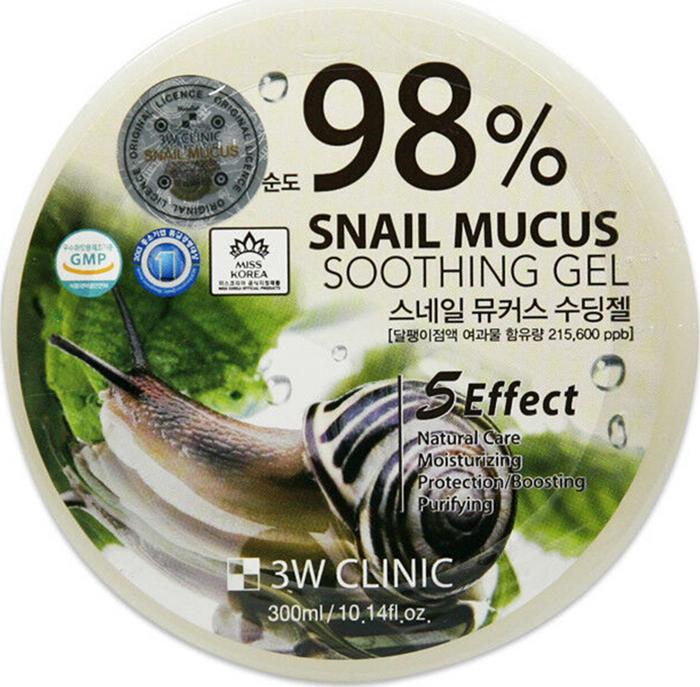 Гель универсальный 3W CLINIC с 98% содержанием улиточного муцина Snail Soothing Gel, 300 мл.  3W Clinic