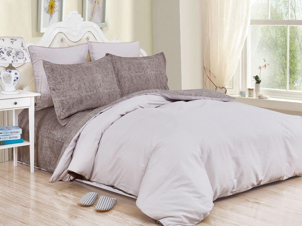 Комплект постельного белья Cleo Satin de' Luxe Нарни, 20/525-SK, бежевый, коричневый, 2-спальный, наволочки 70x70