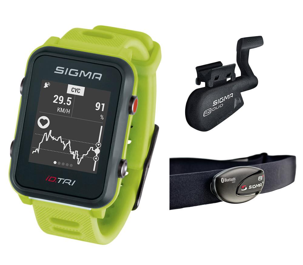 Мультиспортивные часы SIGMA ID.TRI NEON GREEN SET 24270, салат., часы c GPS, встроенный пульсомер, для триатлона + нагр. датчик