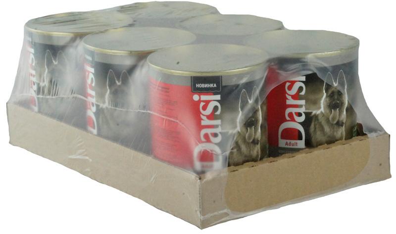 Влажный корм для взрослых собак DARSI Курица и Индейка, консервы (паштет), 6 шт x 850 гр