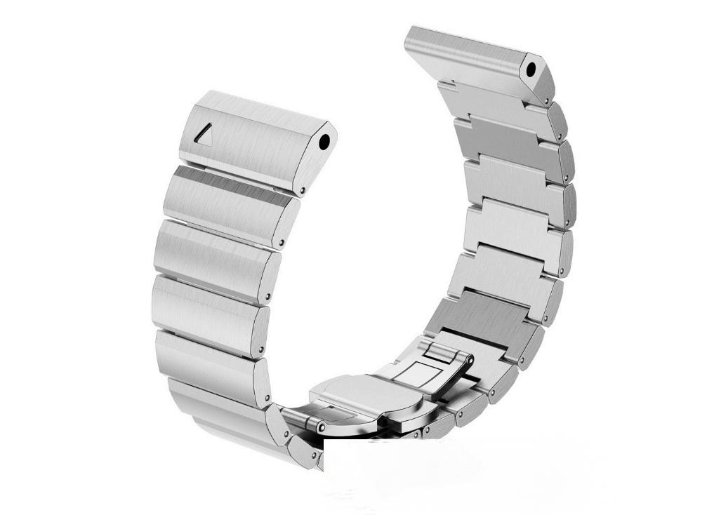 Сменный ремешок-браслет MyPads Inox Clip стальной железный металлический Garmin Fenix 3/ Fenix 3 HR/ HRM / Quatix 3 для умных смарт-часов из нержавеющей стали c одинарными большими плоскими звеньями с замком-застежкой бабочка