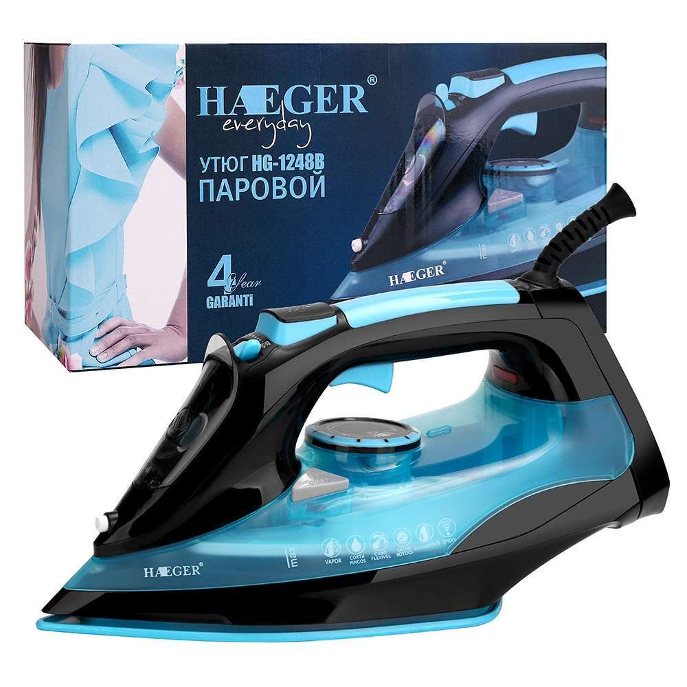 Купить утюг HAEGER HG-1248 Керамическое покрытие, синий в интернет-магазине  OZON: цены , отзывы, характеристики, фото.