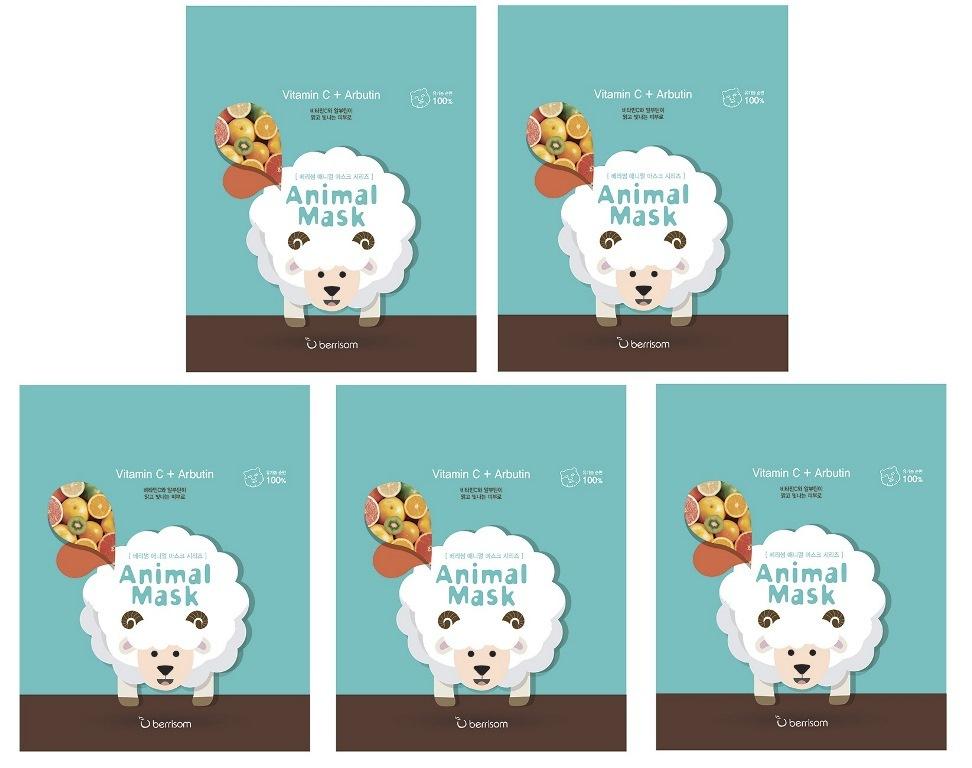 Berrisom Маска тканевая с витамином С (Овца) Animal Mask Series Sheep, 25 мл (Набор из 5 шт)  #1
