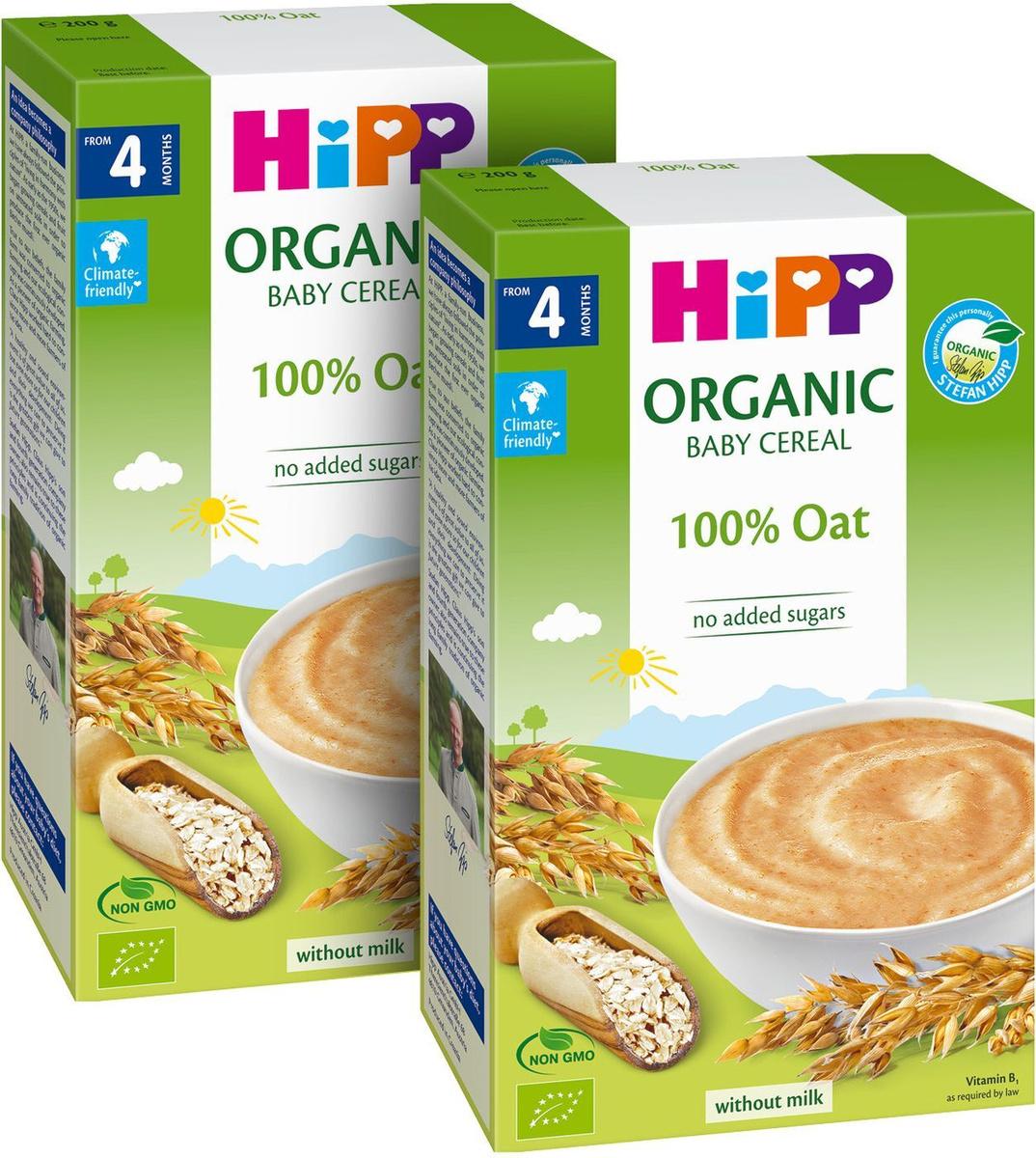 Каша для детей Hipp, органическая, овсяная, с 4 месяцев, 200 г х 2 шт  #1