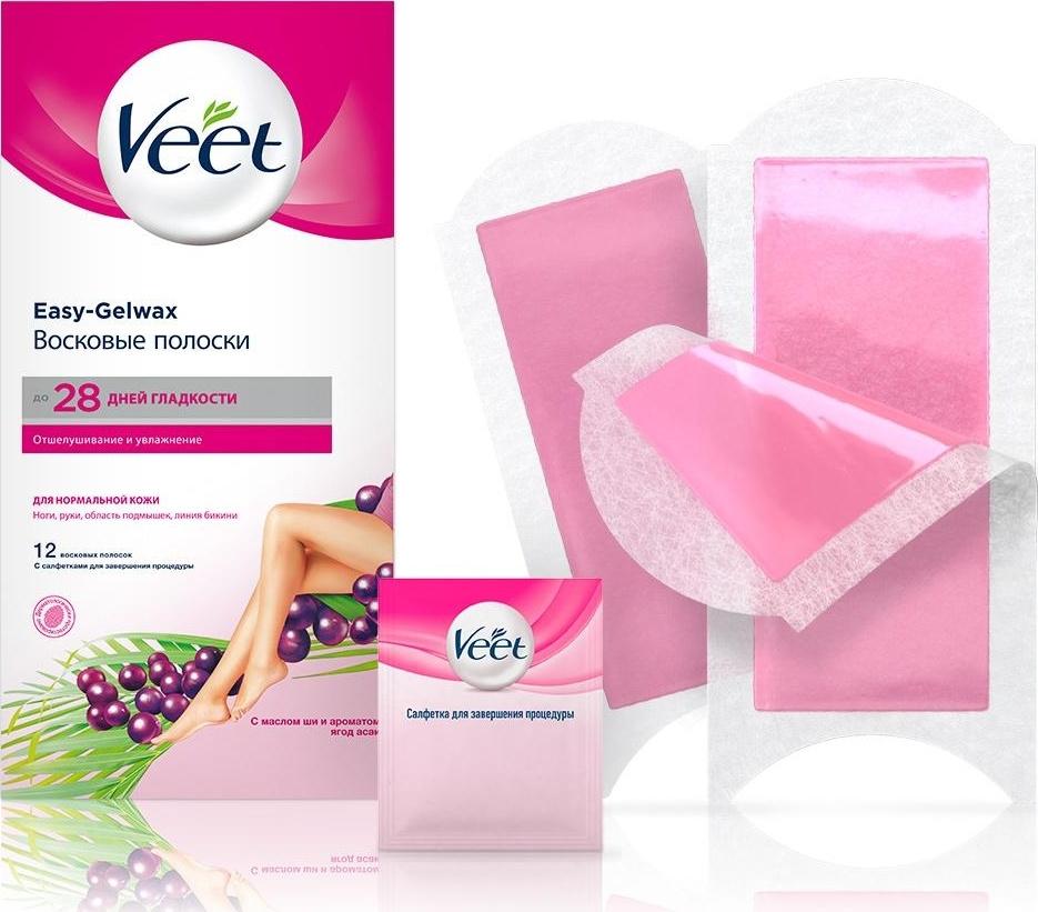 Veet Восковые полоски для нормальной кожи c технологией Easy Gel-Wax, 12 шт  #1