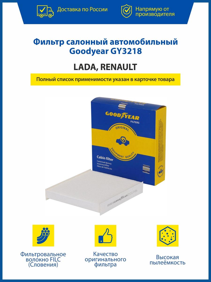Фильтр салонный автомобильный Goodyear GY3218 LADA X-RAY/VESTA; RENAULT ARKANA/CAPTUR/CLIO IV/DUSTER #1
