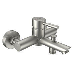 Смеситель для ванны и душа Dorff Logic new D3010000SS излив 124 мм, увеличенный угол наклона струи, ручка стик, переключатель на душ с фиксацией, Германия, нержавеющая сталь. Новинки