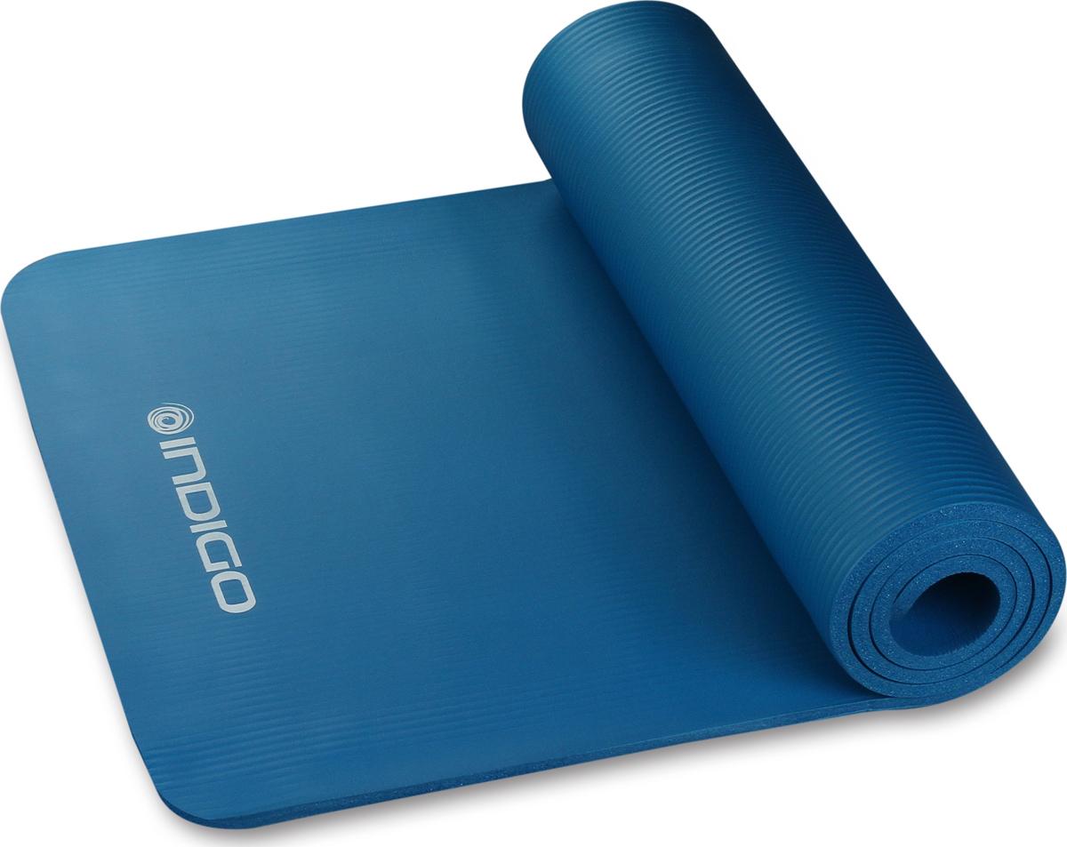 Коврик для йоги и фитнеса Indigo IN104, синий, 173 х 61 х 1 см
