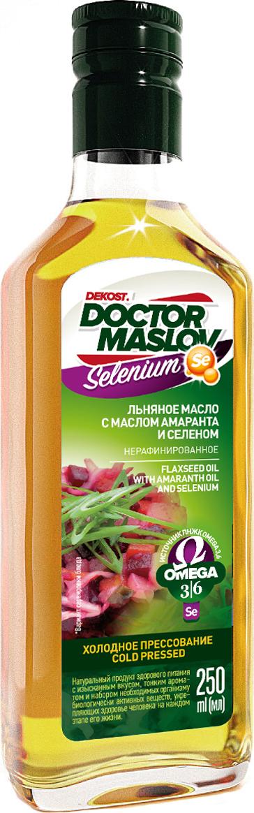 Льняное масло с маслом амаранта и селеном Doctor Maslov. Selenium, купажированное, нерафинированное, холодного отжима, 250 мл, стекло
