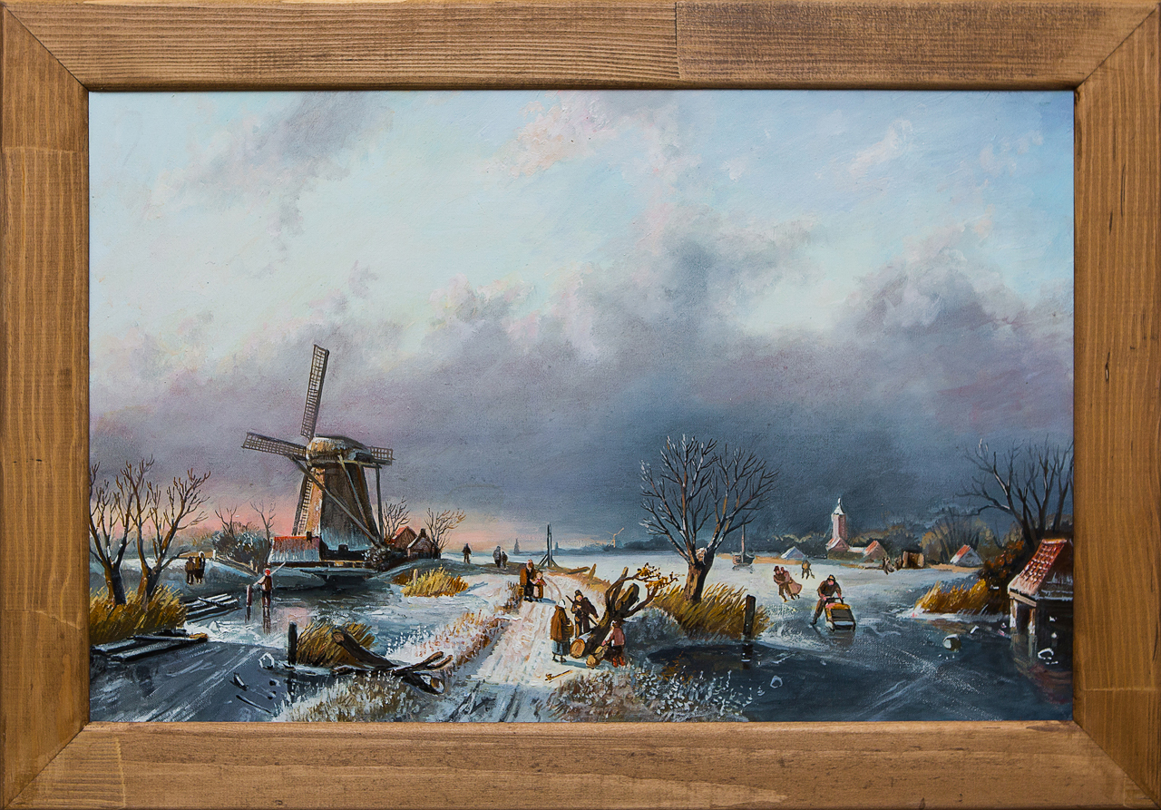 Картина маслом Зимний вечер. Голландия Воробьёв картина маслом гуляки воробьёв