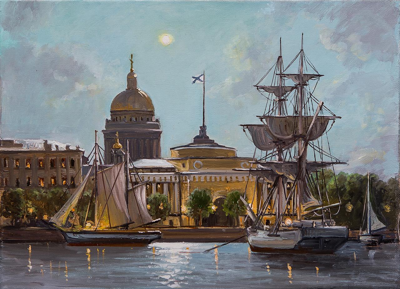 Картина маслом Вид на Адмиралтейство и Исаакий Воробьев картина маслом вид от академии художеств воробьёв
