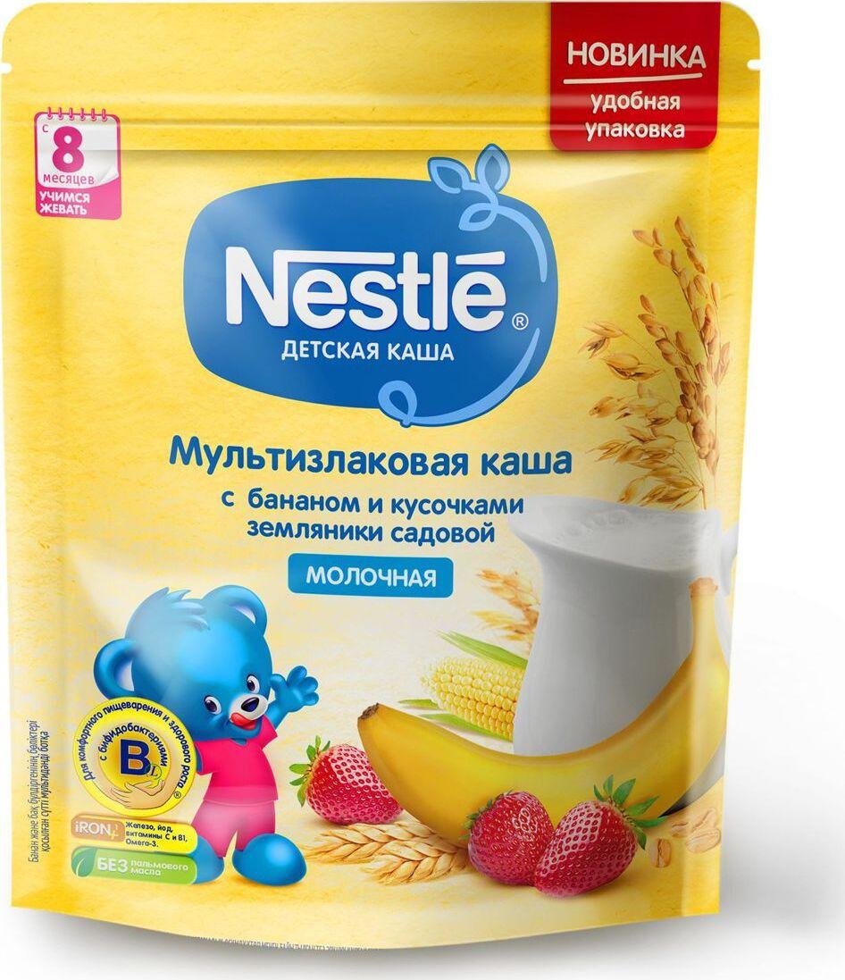 Каша для детей Nestle, молочная, мультизлаковая, с бананом и кусочками земляники, 8 месяцев, 220 г