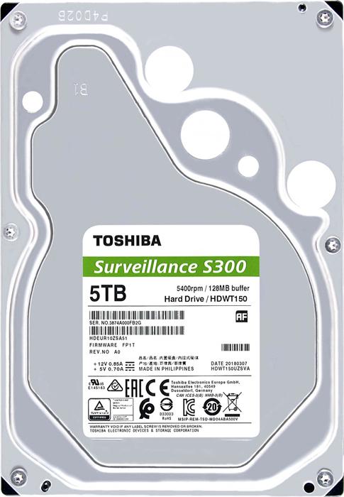 Жесткий диск 5Tb SATA-III Toshiba S300 Surveillance, HDWT150UZSVA жесткий диск toshiba dt01aca100