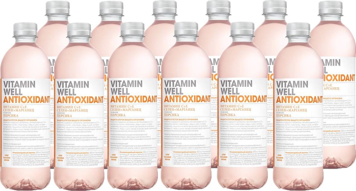 Вода витаминизированная Vitamin Well Antioxidant, персик, 12 шт х 500 мл