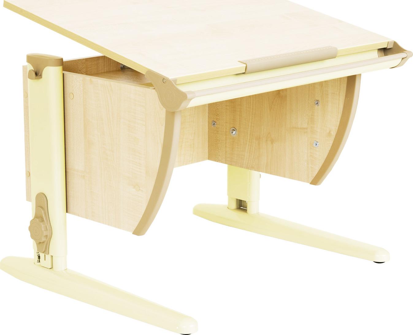 Парта школьная ДЭМИ СУТ-14 75х55 см (цвет столешницы: клен, цвет ножек стола: бежевый)