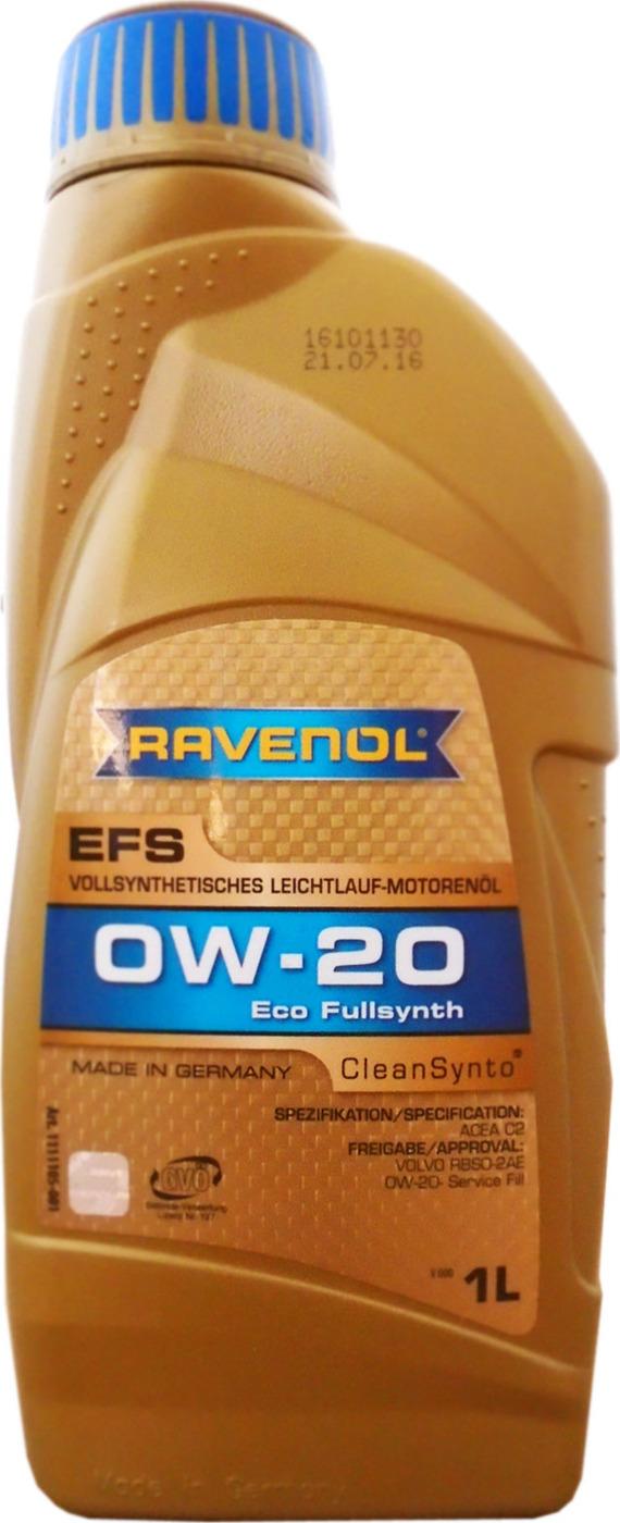 Моторное масло RAVENOL EFS EcoFullSynth SAE 0W-20 (1л)