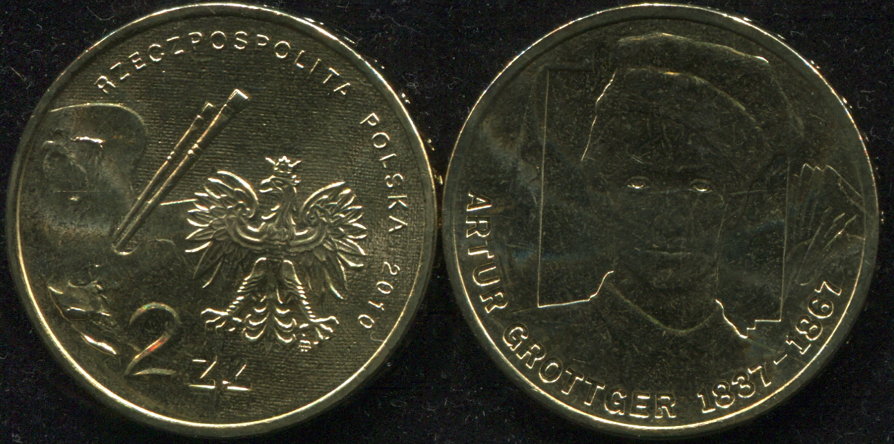 Монета. Польша 2 злотых. 2010 (KM.Y.746. Unc) Артур Гротгер