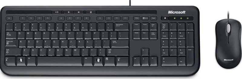 Клавиатура + мышь Microsoft Wired 600 клав:черный мышь:черный USB Multimedia