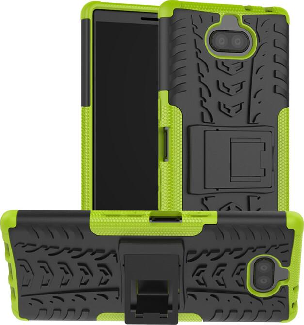 Чехол-бампер MyPads для Sony Xperia 10 Plus противоударный усиленный ударопрочный зеленый