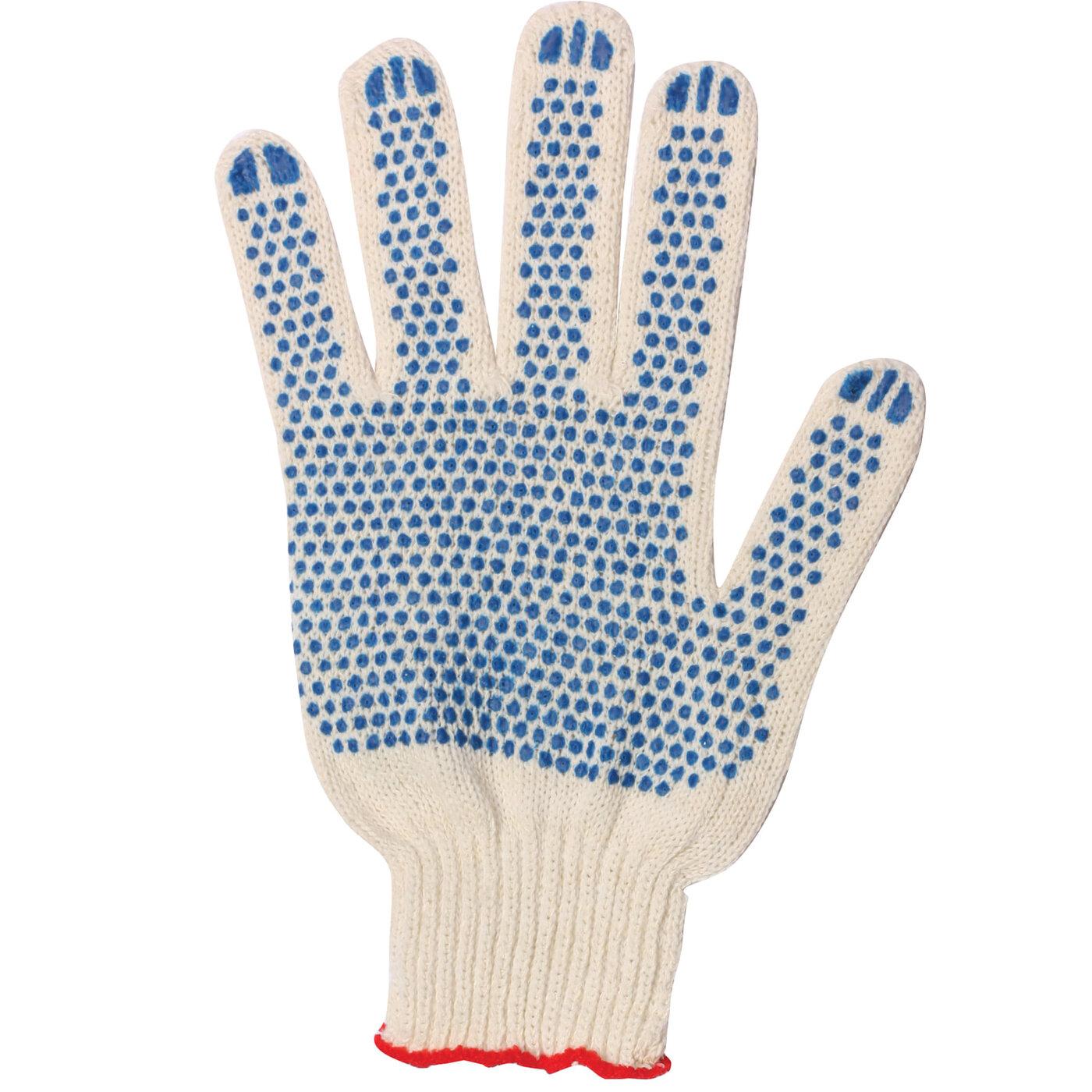 Перчатки хлопчатобумажные, комплект 300 пар, 7,5 класс, 46-48 г, 166 текс, ПВХ точка, Лайма стандарт, белые, 600994
