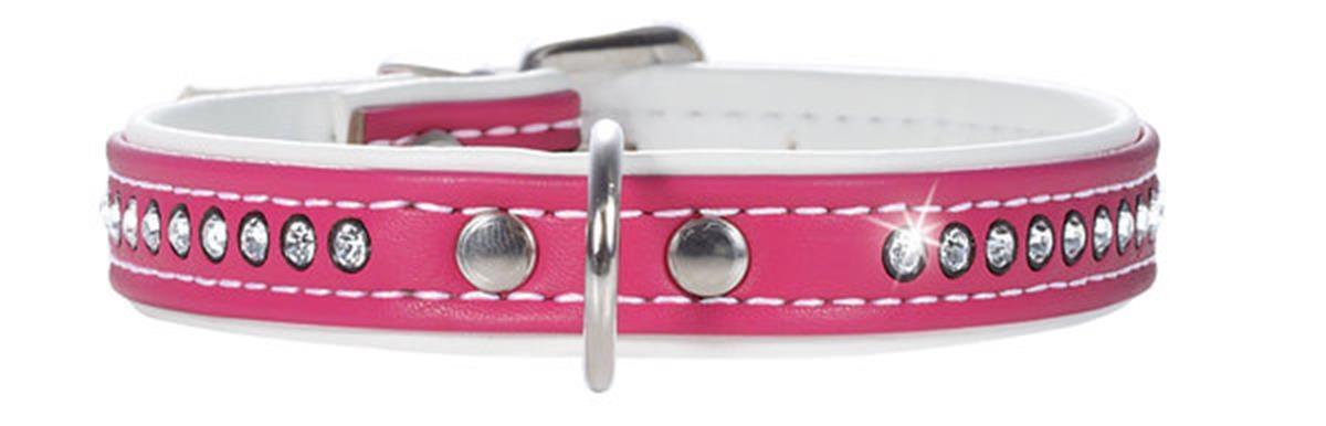 Ошейник для собак Hunter Smart Modern Art Luxus 32/11 (24-28,5 см) кожзам 1 ряд страз ярко-розовый, 20 гр