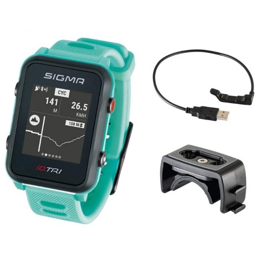 Мультиспортивные часы часы спортивные SIGMA ID.TRI NEON MINT BASIC 24210, светл. зелен., часы c GPS, встроенный пульсомер, для триатлона