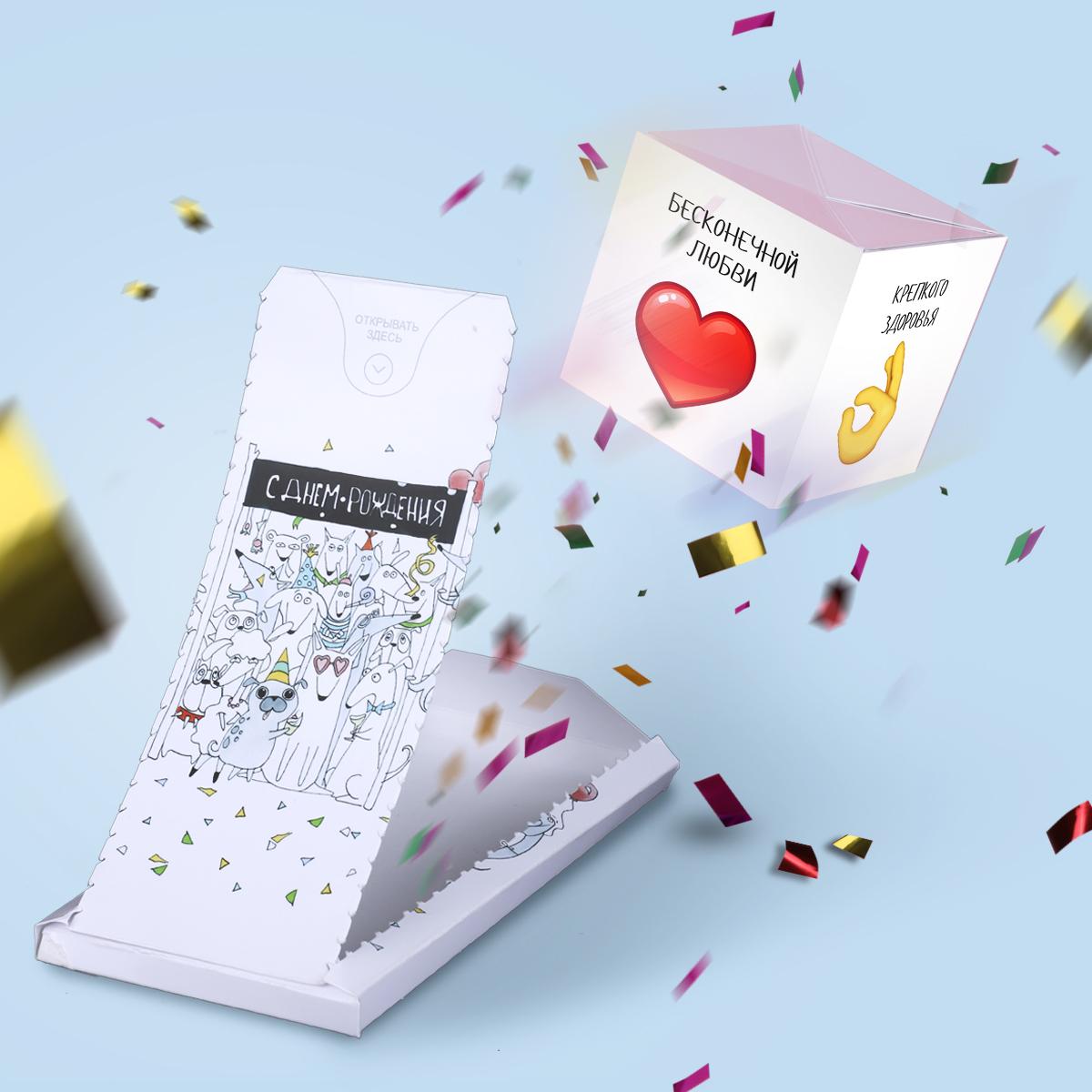 """Бум-открытка с конфетти """"С Днём Рождения!"""" в подарок на День рождения, юбилей для коллег, друзей, родственников - Notta & Belle"""
