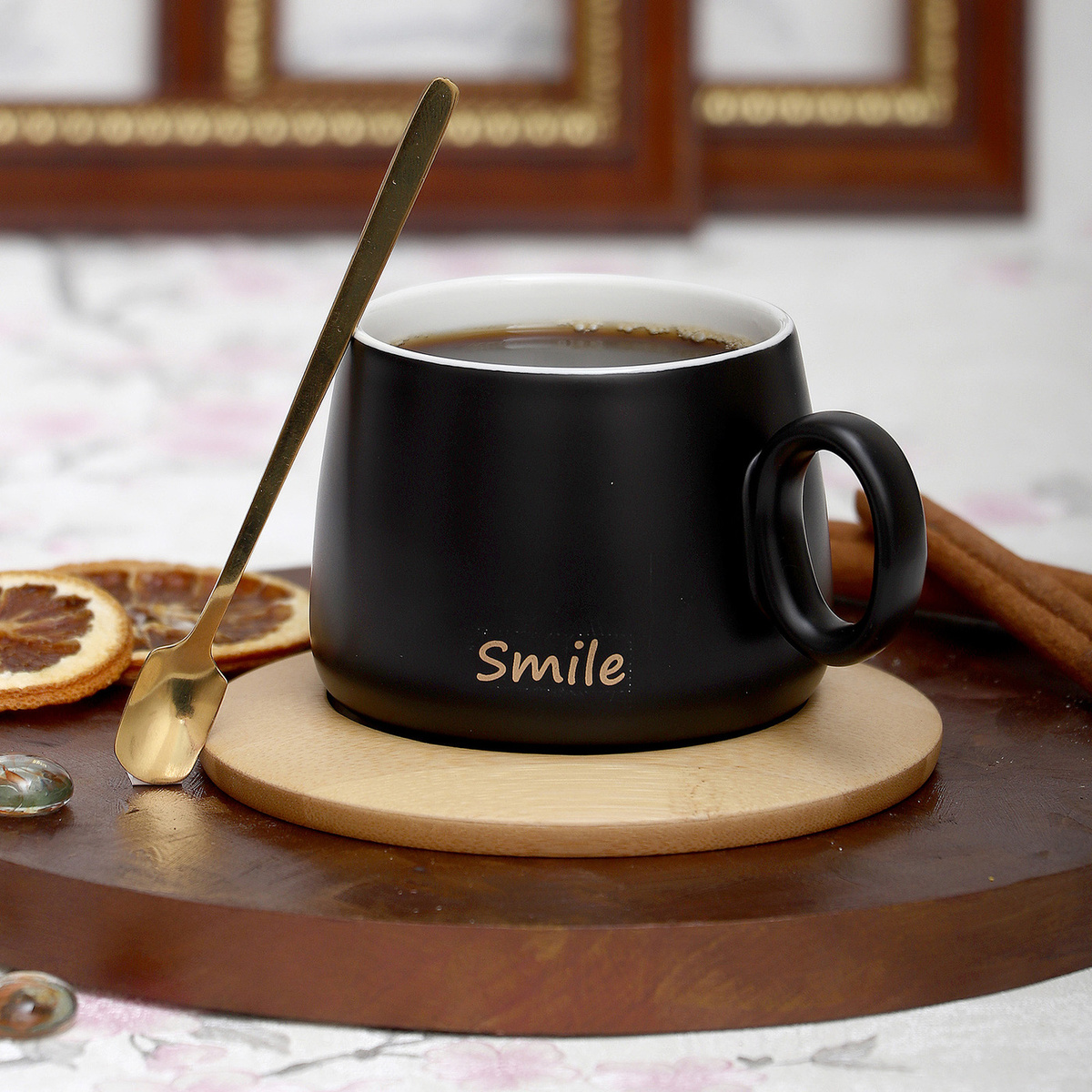 Кружка с деревянным блюдцем Улыбка Эврика #1