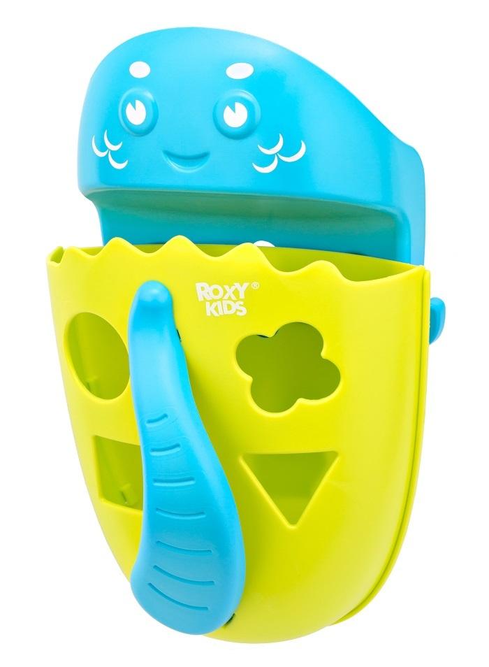 Органайзер-ковш детский для ванной для игрушек для купания DINO от ROXY-KIDS c полкой, цвет зеленый  #1