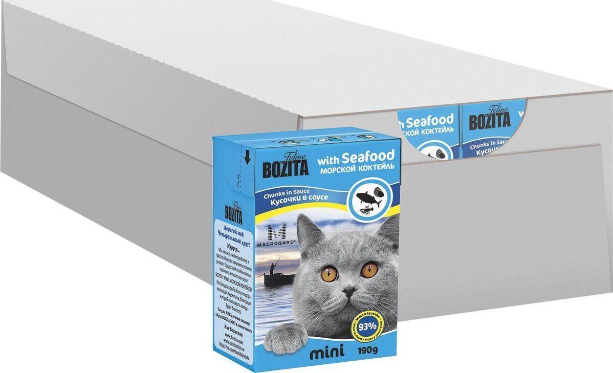 """Консервы для кошек """"Bozita mini"""", мясные кусочки в желе в соусе, с морским коктейлем, 190 г  #1"""