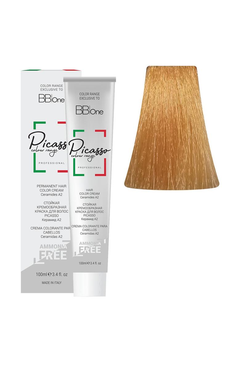 BB One Стойкая крем-краска для волос без аммиака Picasso, 10.34 платиново-золотой медный блонд, 100 мл #1