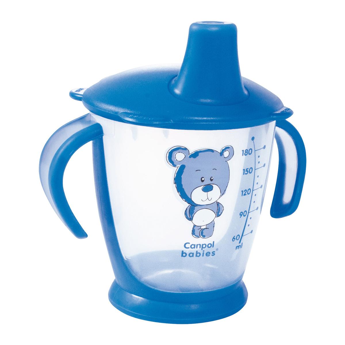 Чашка-непроливайка, Canpol Babies 180 мл. Медвежонок 9+, цвет: синий  #1