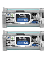 Влажные хозяйственные салфетки Qualita, 2 упаковки по 176 штук. НОВИНКИ с лучшей ценой