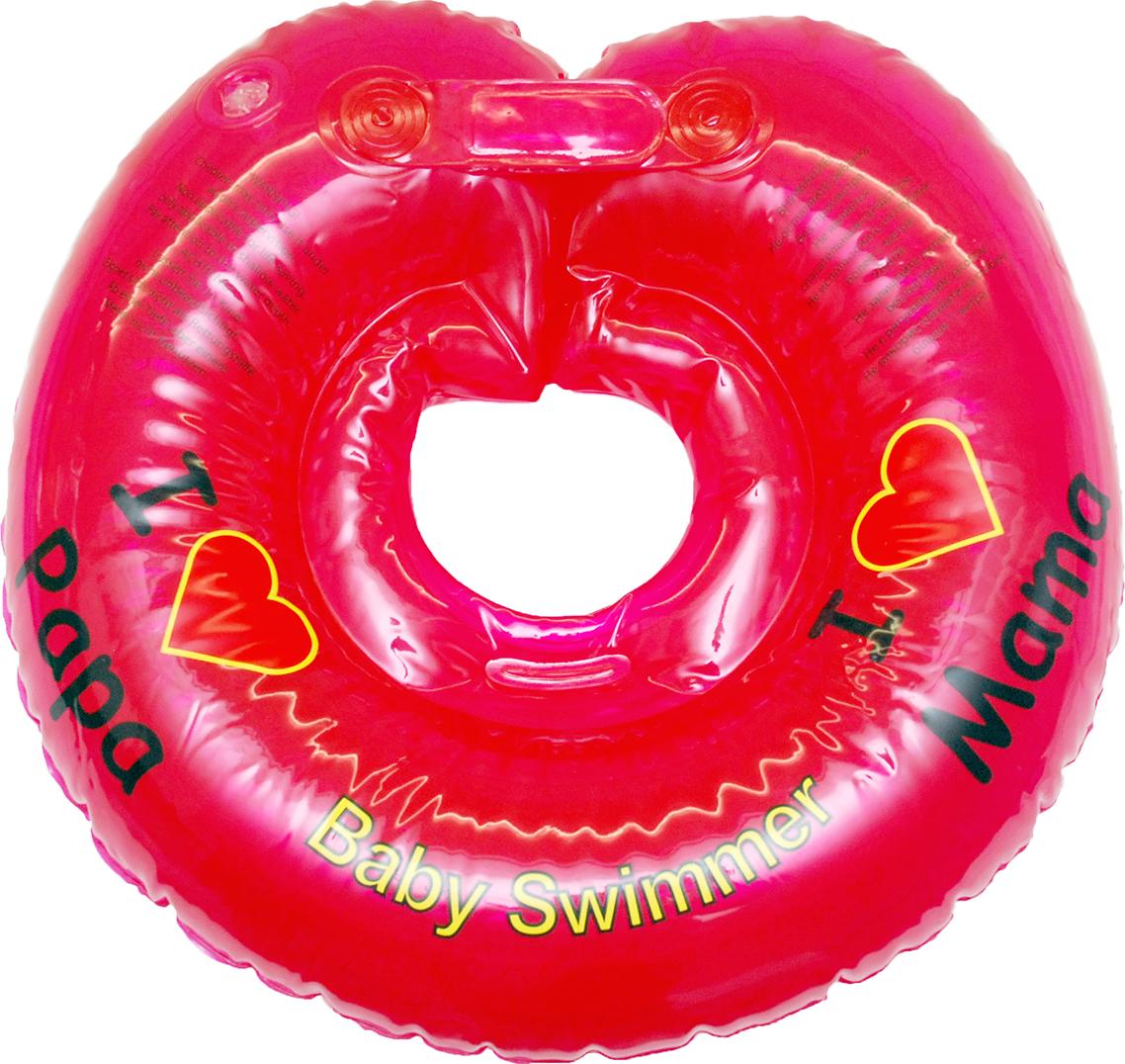Круг на шею для купания малышей красный полноцветный, 6-36 кг, Baby Swimmer