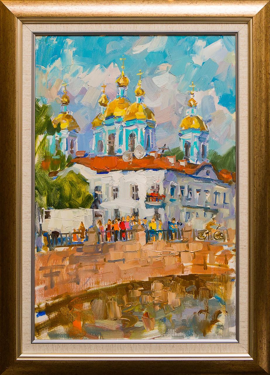 Картина маслом Никольский собор Сухоплюев картина маслом исаакиевский собор с крыши сухоплюев