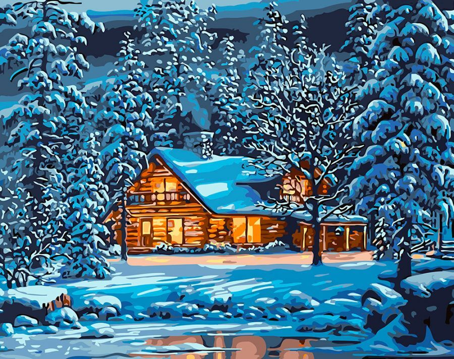 Картина по номерам на холсте Paintboy Домик в зимнем лесу