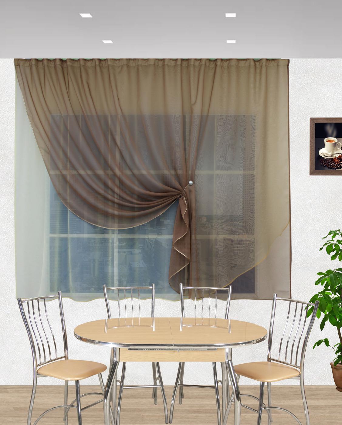 шторы на окно в кухне модерн фото той