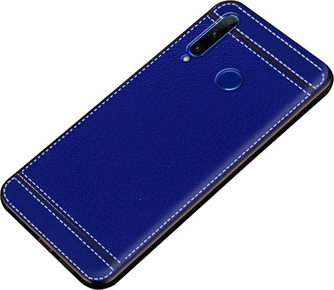 Чехол MyPads для Honor 9X (STK-LX1)/ Huawei Honor 9X Premium / Honor 9X (Russia) из качественного износостойкого силикона с декоративным дизайном под кожу с тиснением синий
