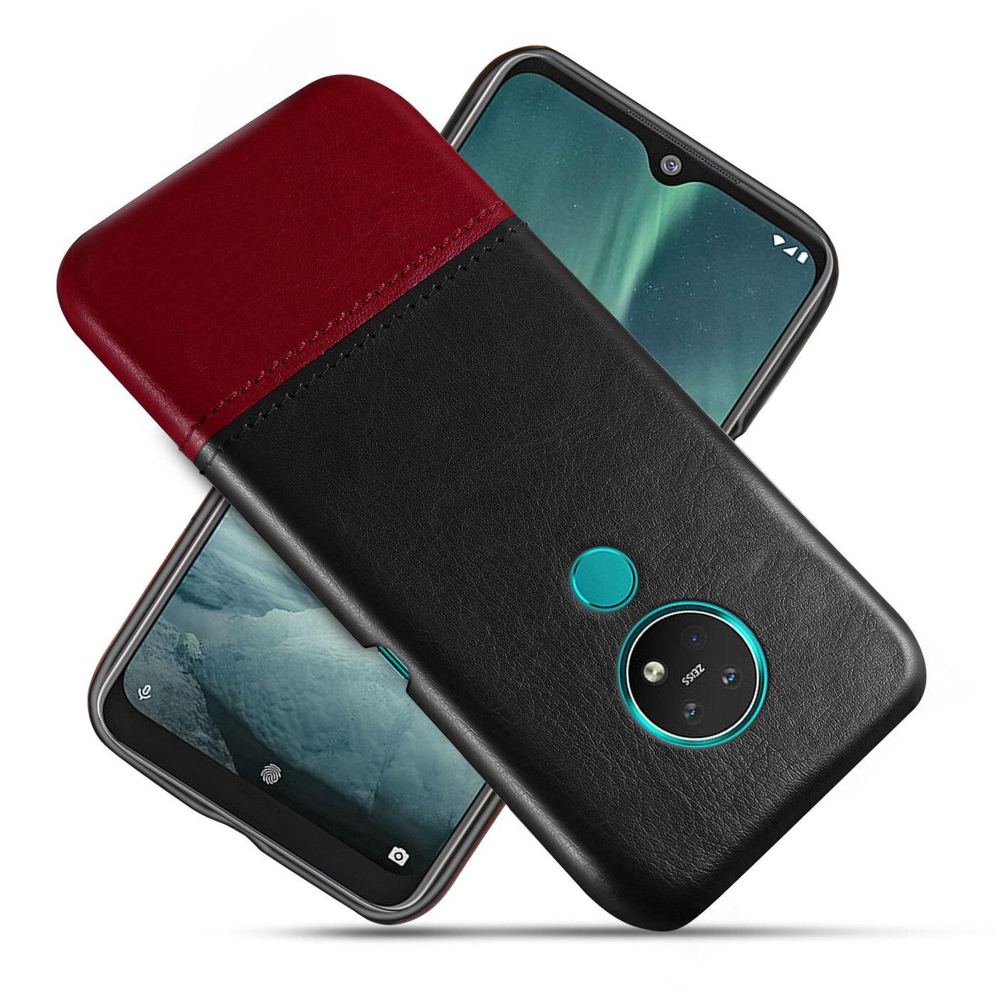 Чехол панель-накладка MyPads для Nokia 7.2/ Nokia 6.2 обтянутый качественной импортной кожей двухцветный дизайнерский с элегантной прошивкой черно-красный